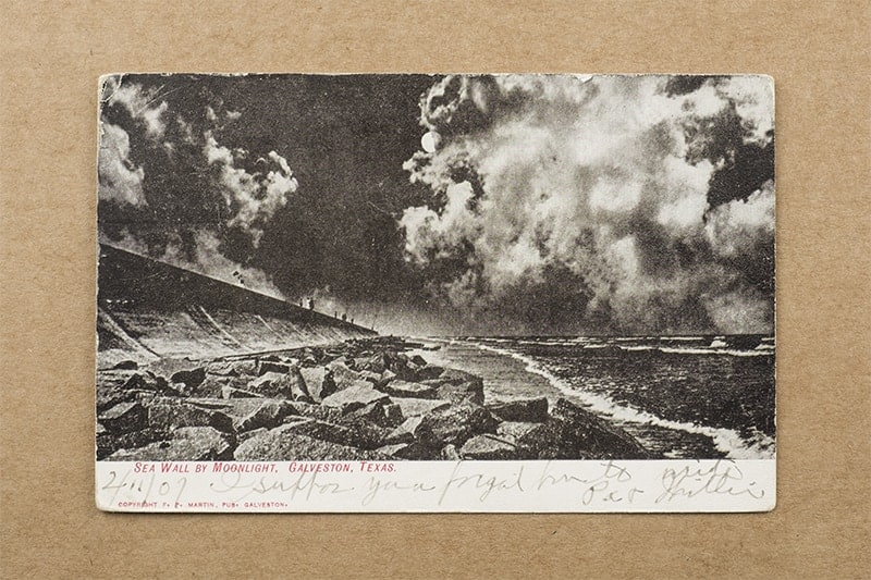 """Sea Wall by Moonlight, Galveston, Texas"" Postcard (front of card)"