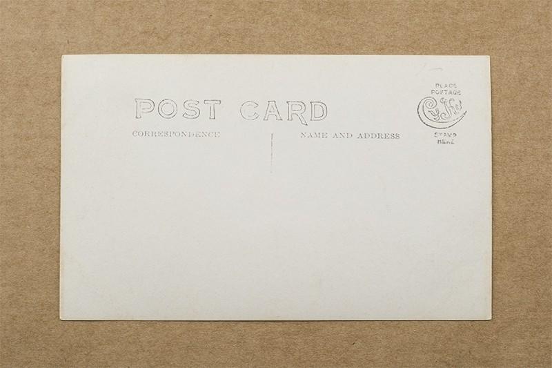 """Sea Wall, Galveston, Tex."" Postcard (back of card)"