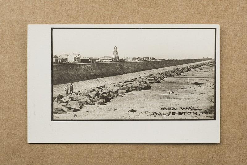 """Sea Wall, Galveston, Tex."" Postcard (front of card)"