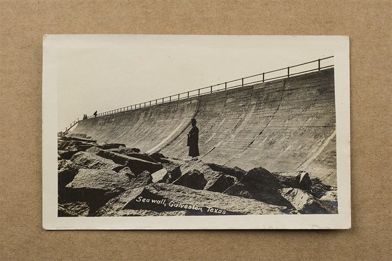 """Seawall, Galveston, Texas"" Postcard (front of card)"
