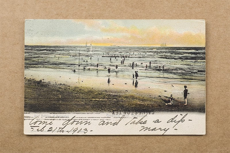 """Surf Bathing at Galveston"" Postcard (front of card)"