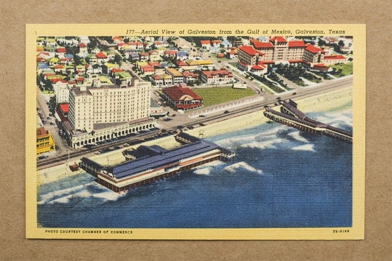 """""""Aerial View of Galveston from the Gulf of Mexico, Galveston, Texas"""" Postcard (front of card)"""