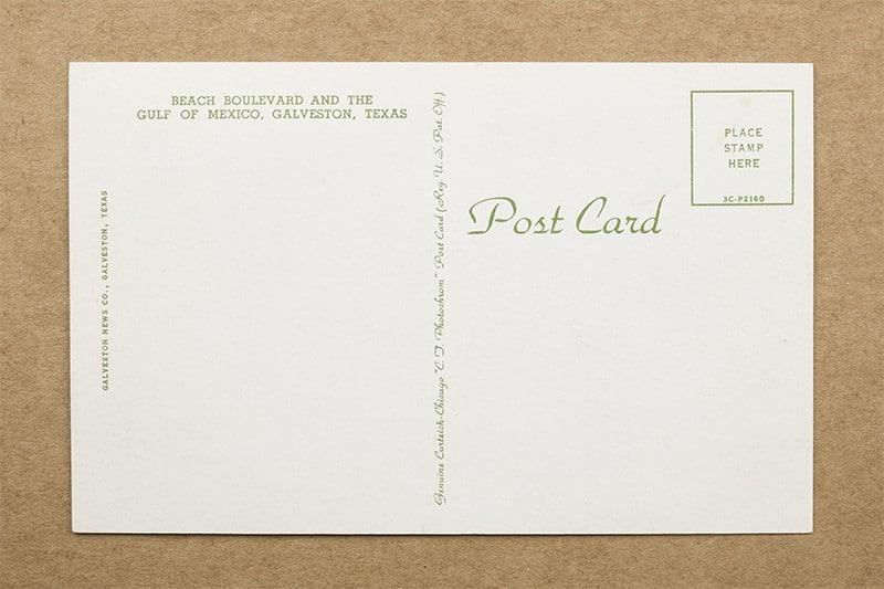 """Beach Boulevard and the Gulf of Mexico, Galveston, Texas"" Postcard (back of card"