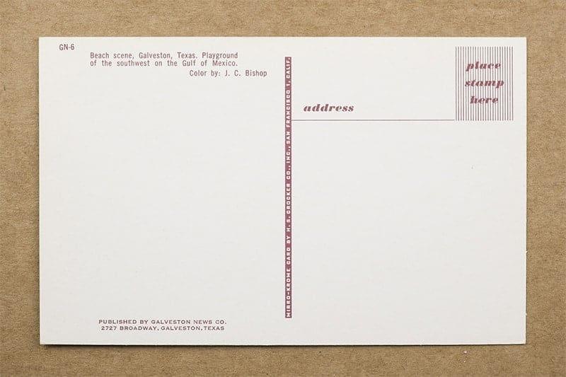 """Beach scene, Galveston, Texas"" Postcard (back of card)"