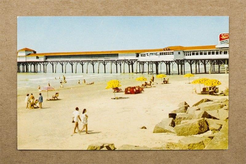 """Beach scene, Galveston, Texas"" Postcard (front of card)"