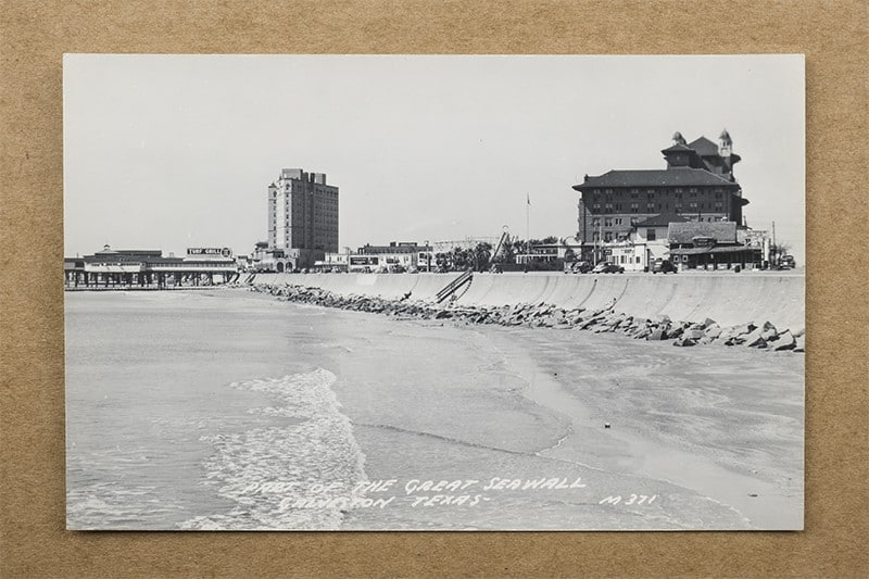 """""""Part of the Great Seawall, Galveston, Texas"""" Postcard (front of card)"""