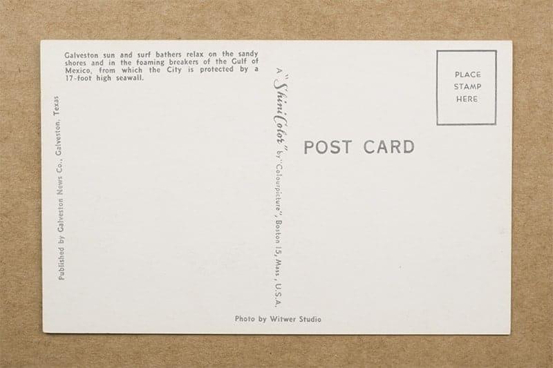 """Sunbathing at Galveston, Texas"" Postcard (back of card)"