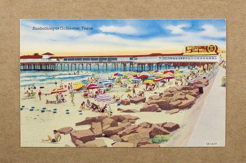 """Sunbathing at Galveston, Texas"" Postcard (front of card)"