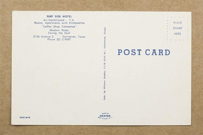 """""""Surf Side Motel"""" Postcard (back of card)"""