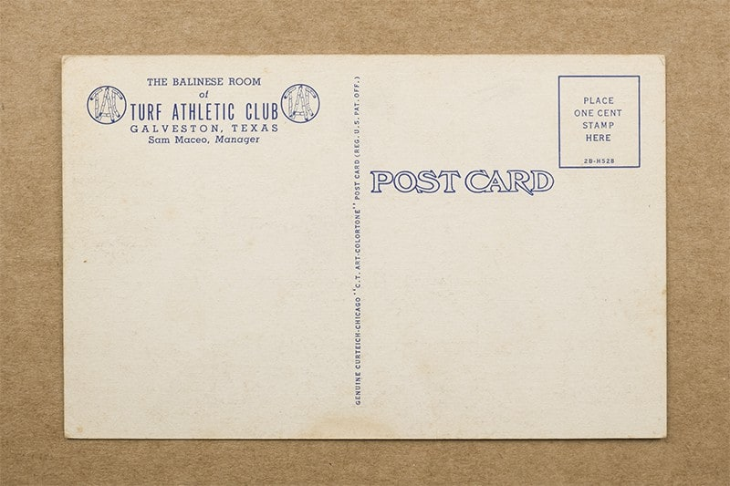 """""""The Balinese Room of Turf Athletic Club"""" Postcard (back of card)"""