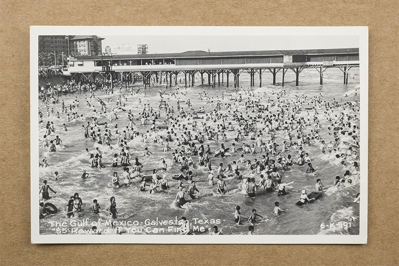 """""""The Gulf of Mexico - Galveston, Texas - $5 Reward If You Can Find Me"""" Postcard (front of card)"""
