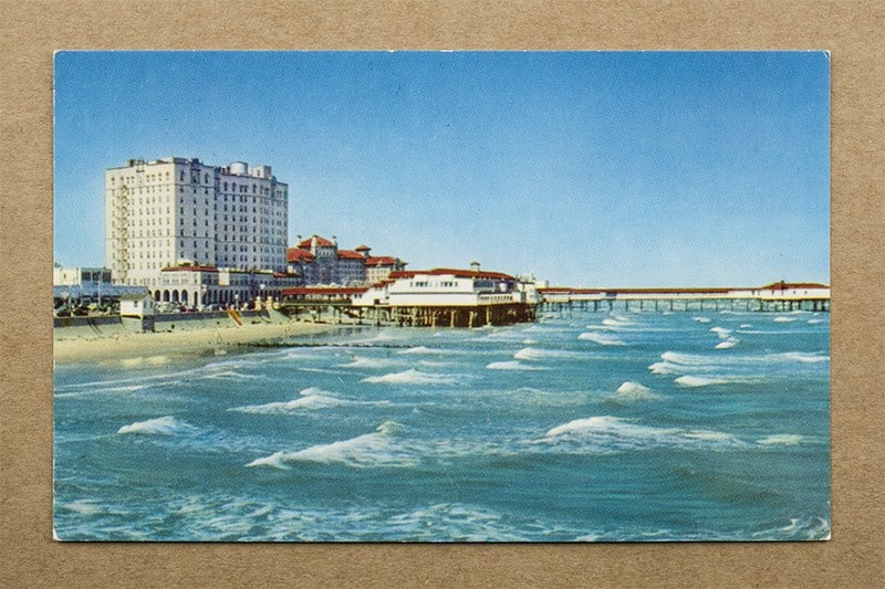 """""""The Famous Seawall and Beach Playground of the Southwest, Galveston, Texas"""" Postcard (front of card)"""