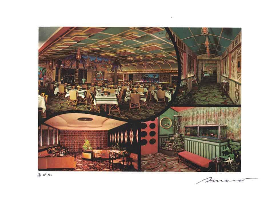 Balinese Room art print of 1956 jumbo postcard (signed, limited edition, 21/100)