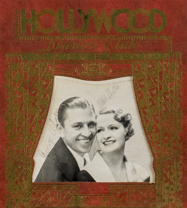 Cover detail from the Hollywood Dinner Club Menu and Wine List, Spring and Summer Season 1934, autographed by entertainers George Olsen and Ethel Shutta