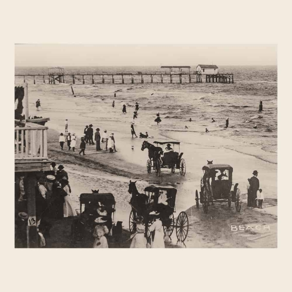 Beach Scene With Horse-Drawn Carriages (calendar image)