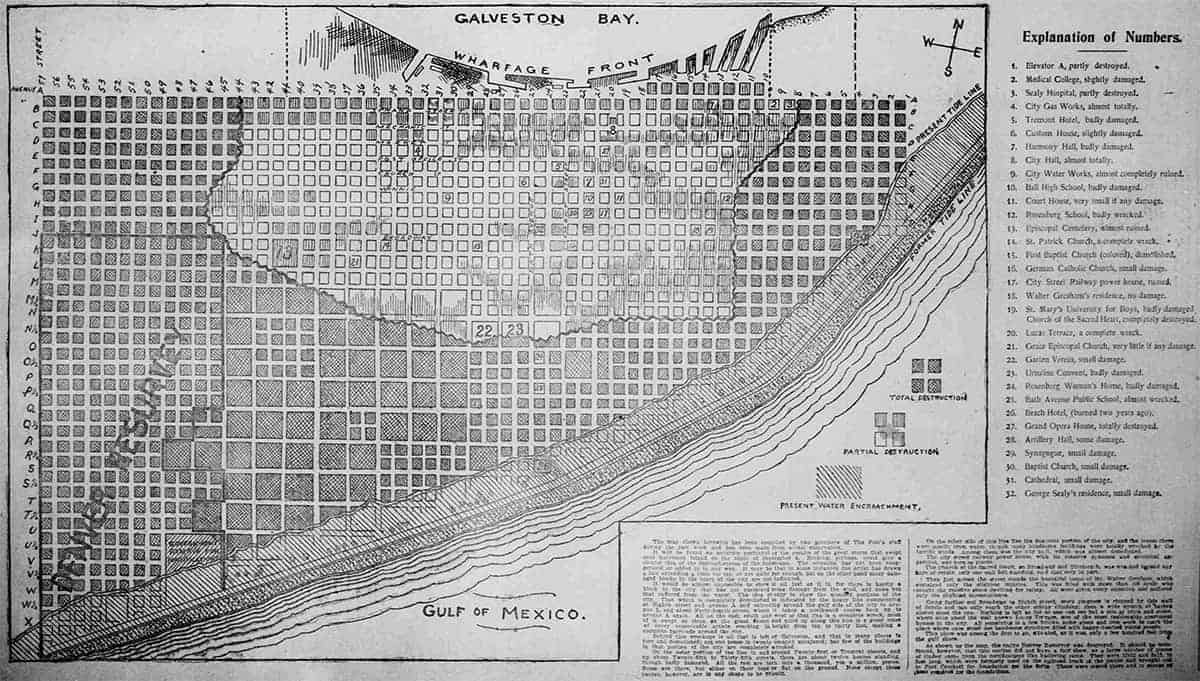 Map of Galveston showing areas of partial and total destruction after the 1900 Storm
