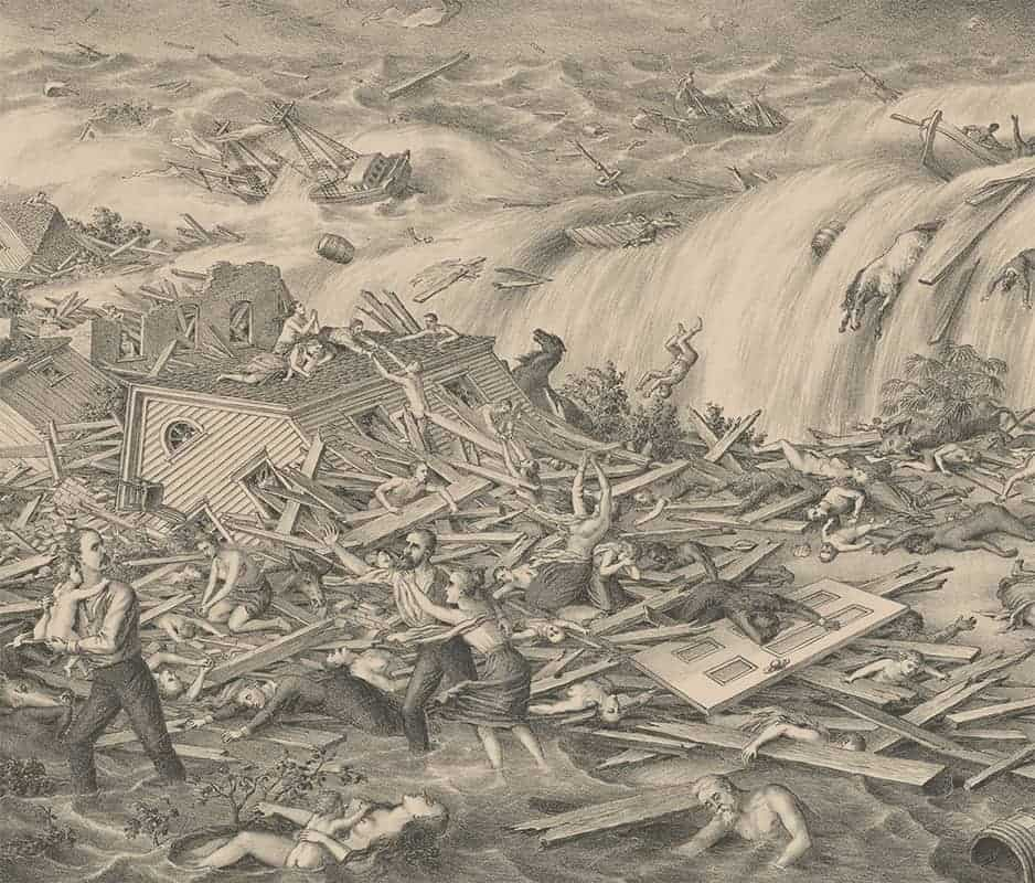 "Center detail from Kurz & Allison lithograph (c. 1900) titled ""Galveston's Awful Calamity – Gulf Tidal Wave. September 8th 1900"""