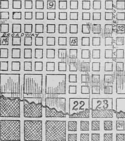 Close-up of map showing area of destruction around the Garten Verein