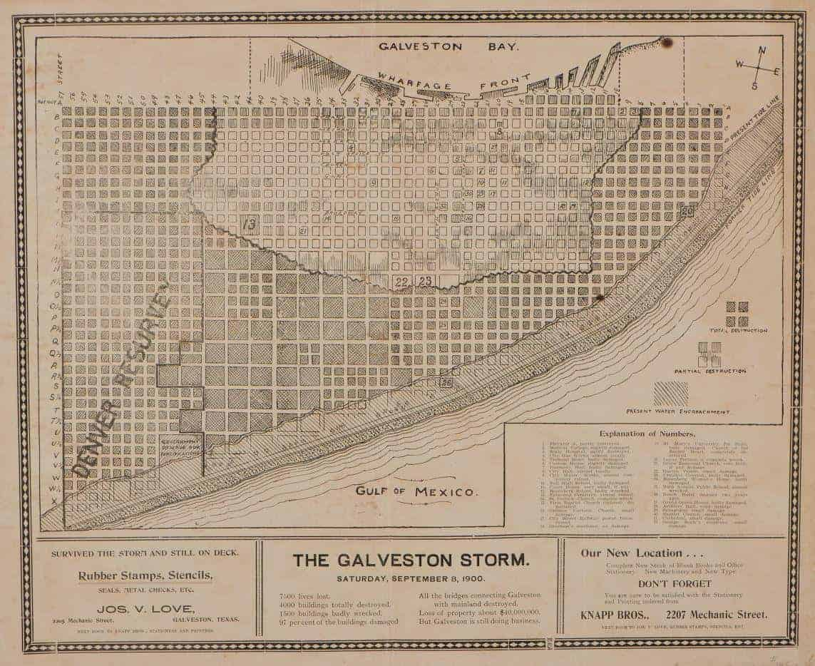 Map showing destruction after the Great Storm of 1900