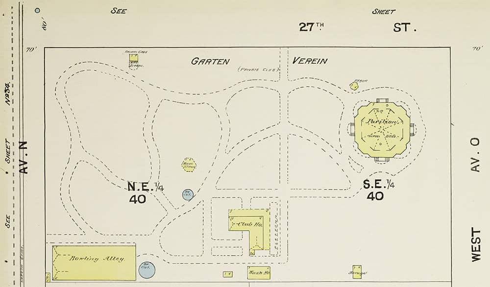 Sanborn map of the Garten Verein in 1889