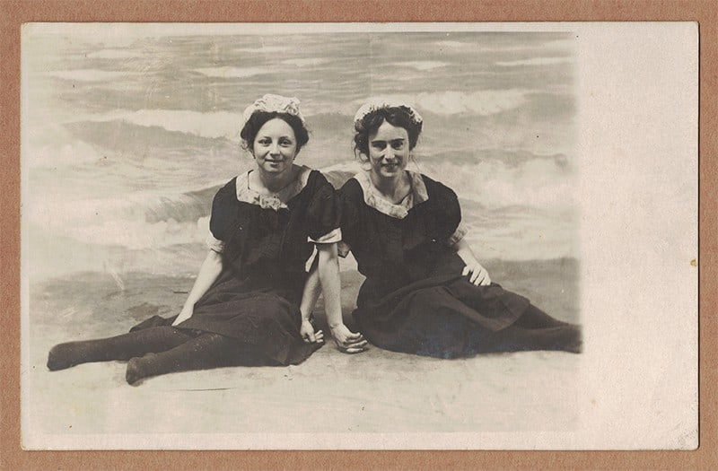 Bathing Girls at The Breakers Bathhouse Postcard (front of card)