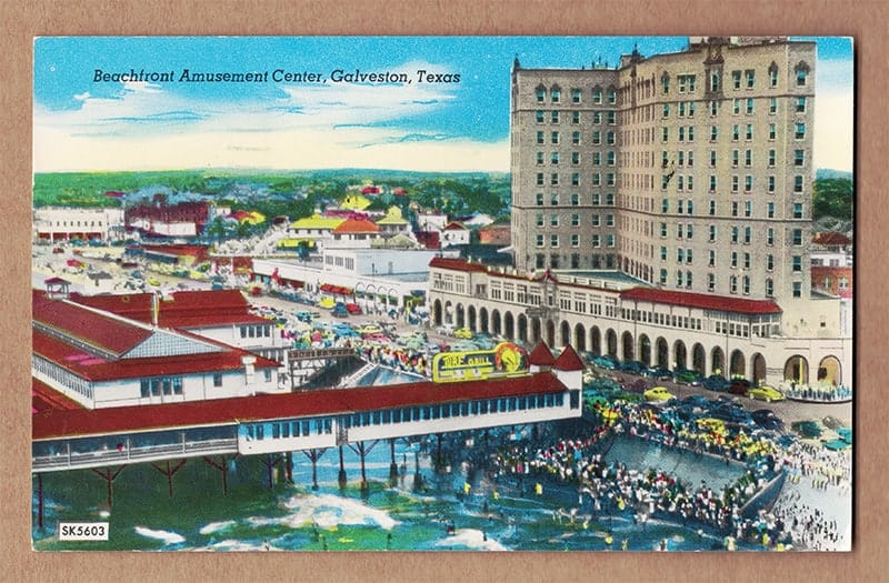 """Beachfront Amusement Center, Galveston, Texas"" Postcard (front of card)"