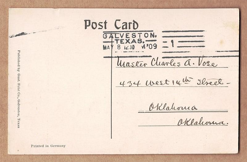 """""""Birds Eye View, Garten-Verein, Galveston, Texas"""" Postcard (back of card)"""