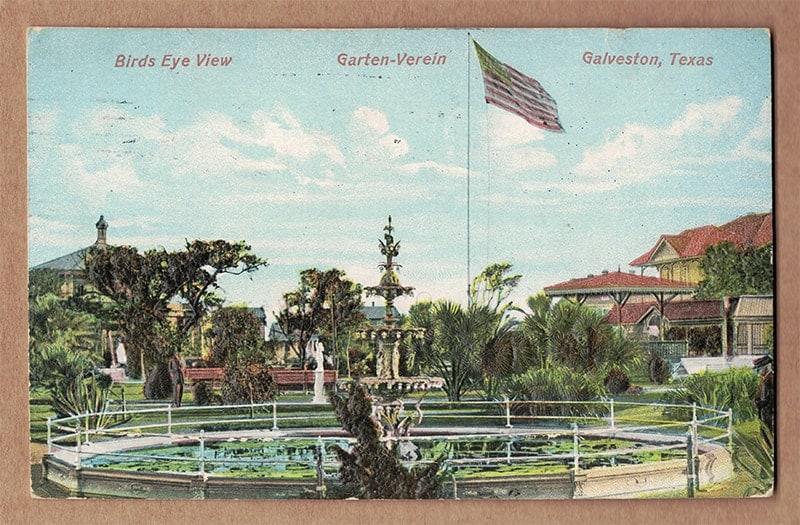 """""""Birds Eye View, Garten-Verein, Galveston, Texas"""" Postcard (front of card)"""