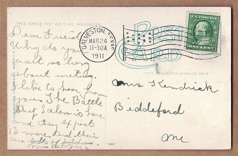 """Corner of Garten Verein, Galveston, Texas"" Postcard (back of card)"