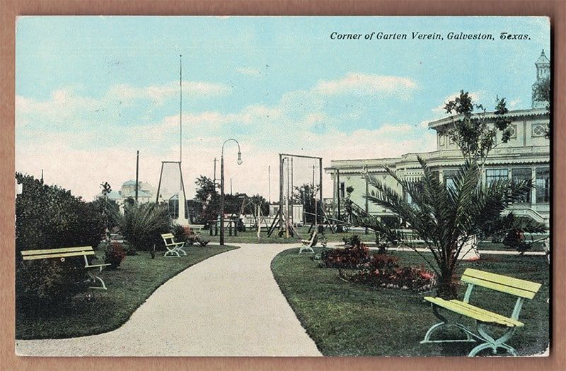 """Corner of Garten Verein, Galveston, Texas"" Postcard (front of card)"