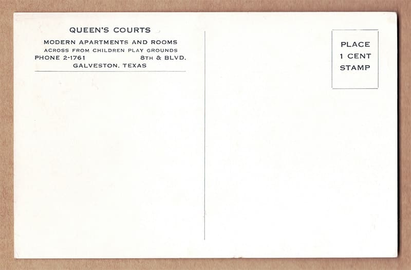 """Queen's Courts"" Postcard (back of card)"